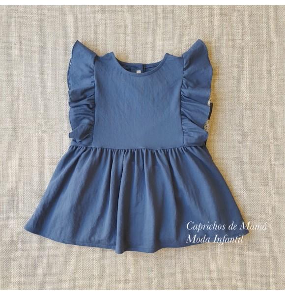Blusa niña de Mía y Lía azul volante tira bordada