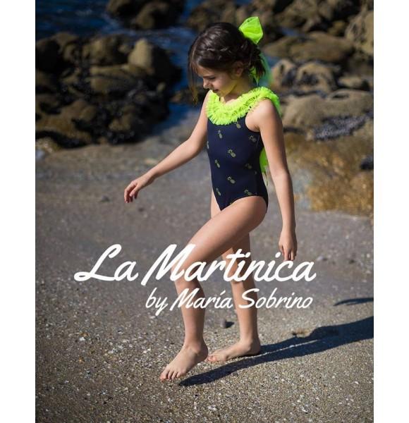Bañador niña Ananas de La Martinica piñas flúor