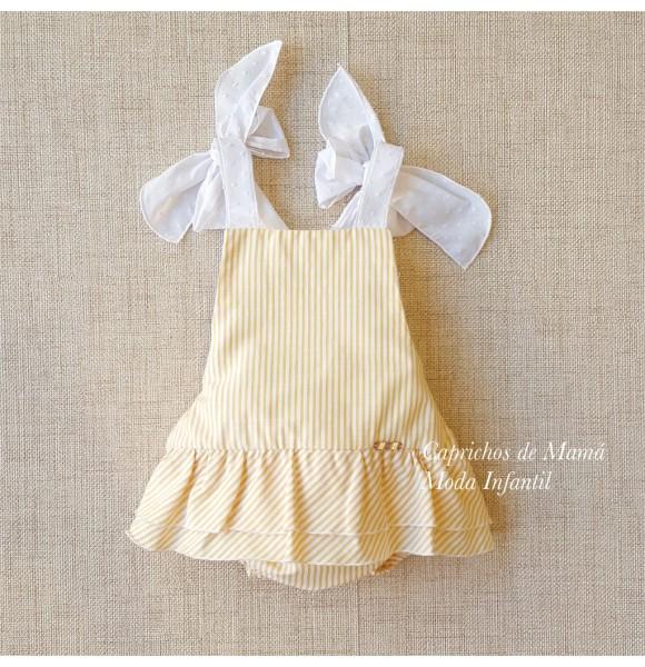 Ranita bebé niña de Pilar Batanero rayas amarillas