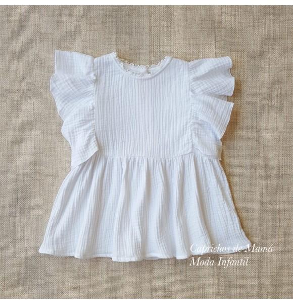 la mejor actitud 16a7c a4ad2 Blusa niña de Mía y Lía bámbula blanca | Ropa Infantil