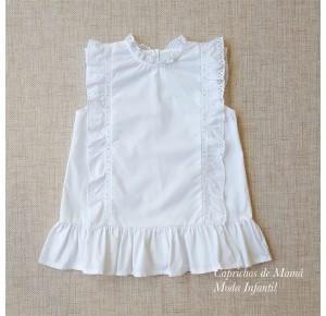 Blusa niña de Mía y Lía blanca tira bordada