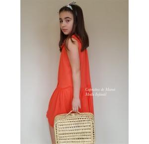 Vestido niña de Mía y Lía bámbula coral