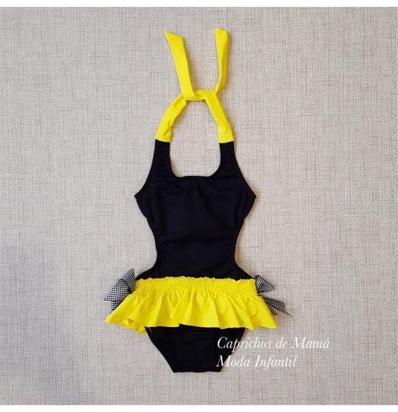 Trikini niña de Mon Petit negro y amarillo