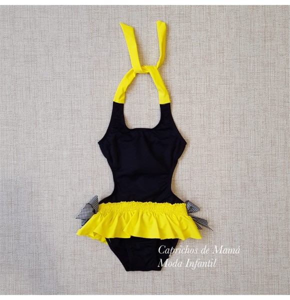 838a4246128a Trikini niña de Mon Petit negro y amarillo | Ropa Infantil