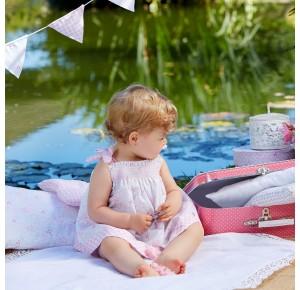 Vestido bebé niña Dulces de Paz Rodríguez gris y rosa