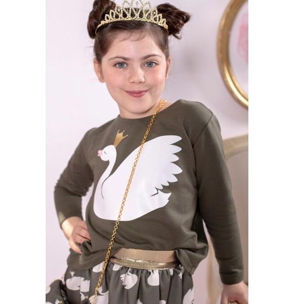 Conjunto niña de Mon Petit sudadera y falda cisnes