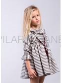 Vestido niña de Pilar Batanero rayas carbón