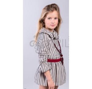 Conjunto niña de Pilar Batanero blusa y falda rayas