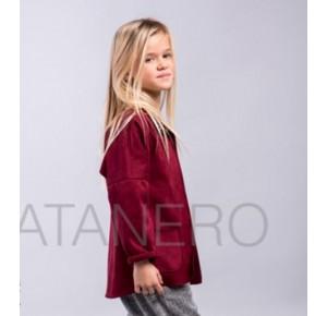 Chaqueta niña de Pilar Batanero antelina burdeos