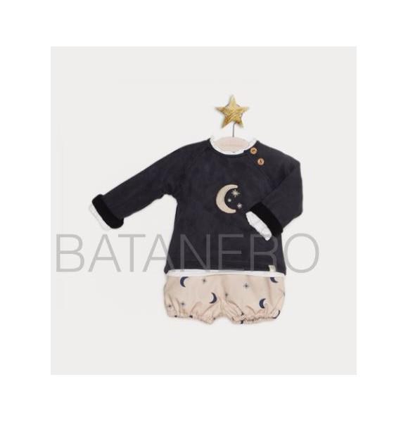 Conjunto bebé niño de Pilar Batanero lunas y estrellas