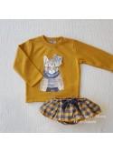 Conjunto niña Mon petit sudadera gato mostaza y braga