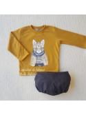 Conjunto niño Mon Petit sudadera gato mostaza y bombacho
