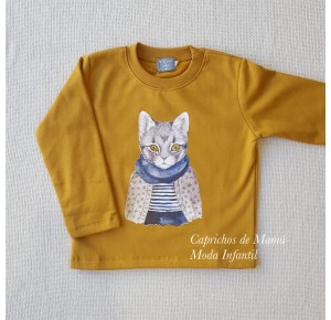 Sudadera niño de Mon Petit gato mostaza