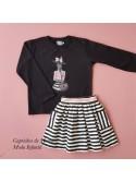 Conjunto niña de Mon Petit sudadera y falda a rayas