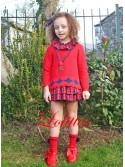 Vestido y jersey niña Cachemir de Lolittos rojo