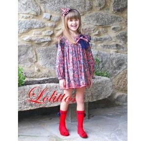 Vestido niña Cachemir de Lolittos recto rojo y marino