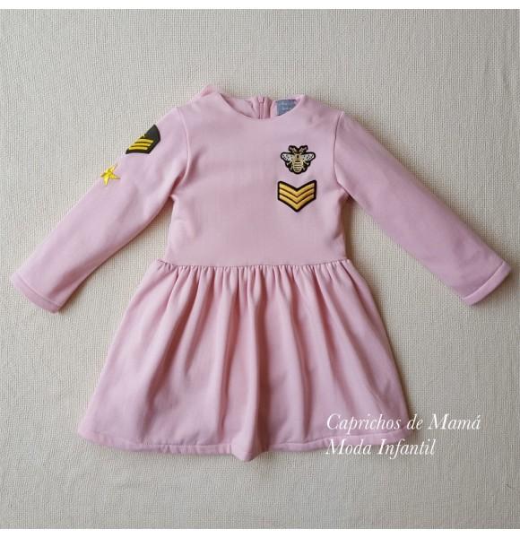Vestido niña de Mon Petit rosa parches