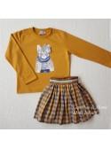 Conjunto niña Mon Petit sudadera gato mostaza y falda
