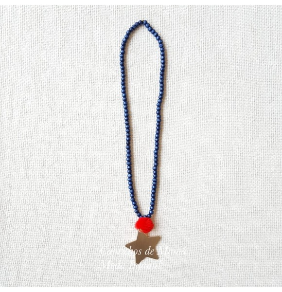 Collar niña Cachemir de Lolittos marino y rojo