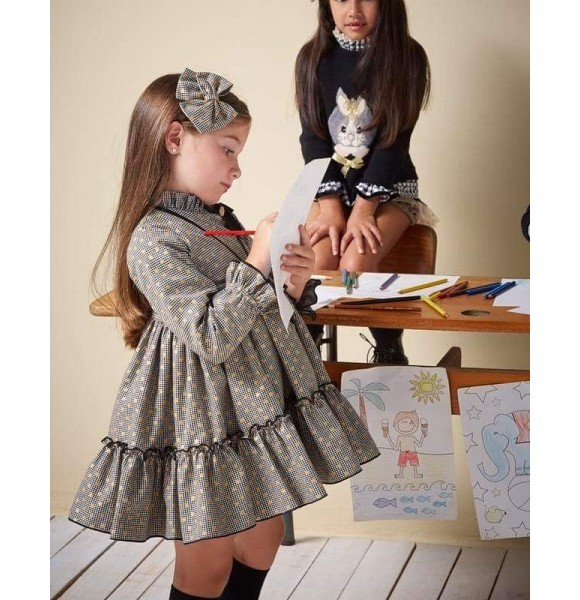Vestido niña Cora de Eva Castro pata de gallo negro