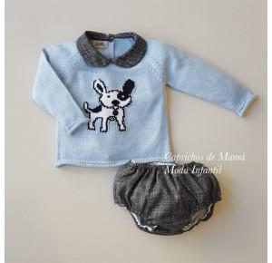 Conjunto bebé niño Black de Lolittos jubón y cubre