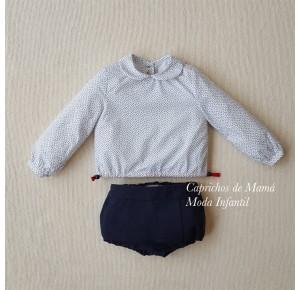 Conjunto bebé niño Cachemir de Lolittos bombacho y camisa
