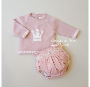 Conjunto bebé niña de Eva Castro jersey y cubre rosa
