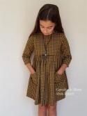 Vestido niña de Mía y Lía cuadros en amarillo y negro