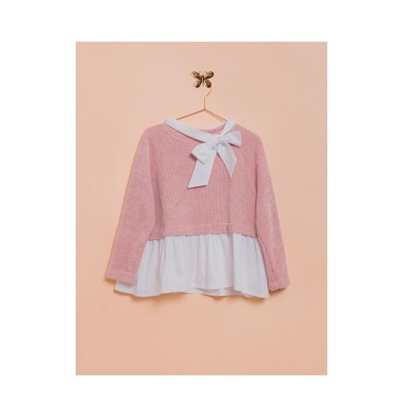 Sudadera niña de Lunares en Mayo punto rosa