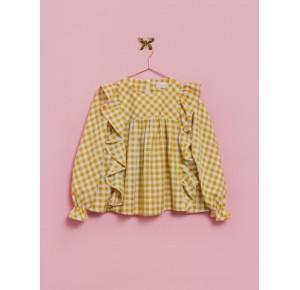 Blusón niña de Lunares en Mayo vichy amarillo