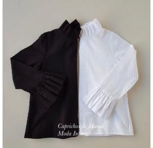 Camisa niña de Mía y Lía plumeti cuello chimenea