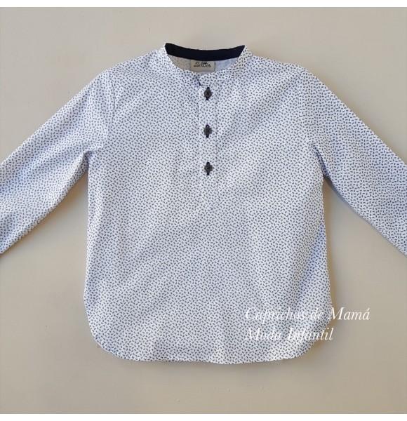 Camisa niño Cachemir de Lolittos blanca y marino