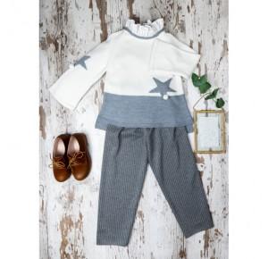 Conjunto niña de My Bella Moon jersey y pantalón gris