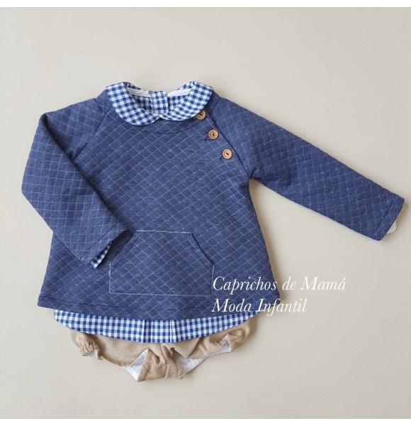Conjunto bebé niño de Valentina Bebés vichy azul