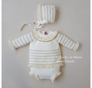 Conjunto bebé de Nini jersey y braga de punto marfil