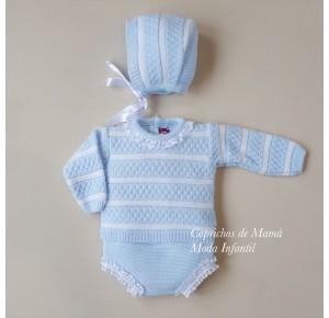 Conjunto bebé de Nini jersey y braga de punto azul