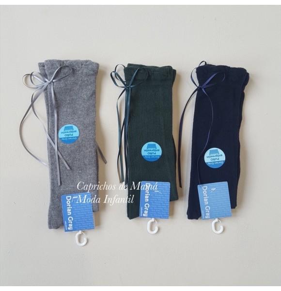 Calcetín alto de Dorian Grey algodón lazo trasero