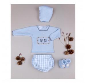 Conjunto bebé niño de Carmen Taberner azul ardillas