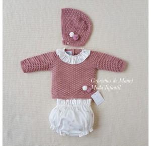 Conjunto bebé niña de Carmen Taberner rosa ciervos