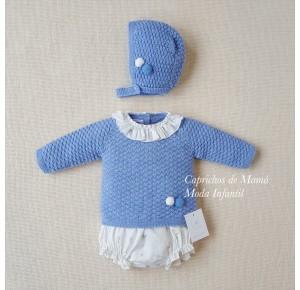Conjunto bebé de Carmen Taberner cubre azul ciervos