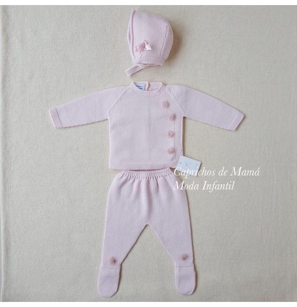 Conjunto polaina bebé de Carmen Taberner rosa pompones