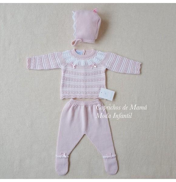 Conjunto polaina bebé de Carmen Taberner rosa lazo