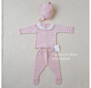 Conjunto polaina bebé de Carmen Taberner rosa y blanco