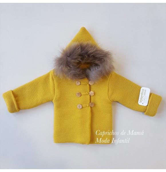 Chaquetón punto bebé niño de Valentina Bebés mostaza