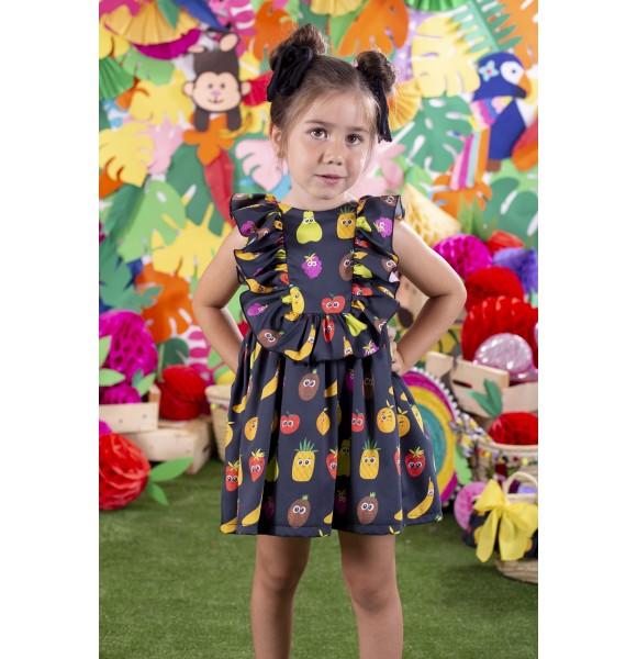 Vestido niña negro estampado frutas de Mon Petit