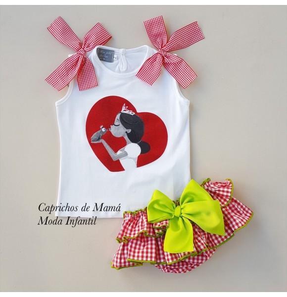 Conjunto camiseta princesa y braga vichy de Mon Petit