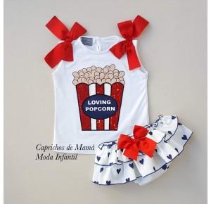 Conjunto camiseta palomitas y braga corazones Mon Petit