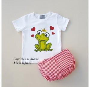 Conjunto camiseta rana y bombacho vichy de Mon Petit