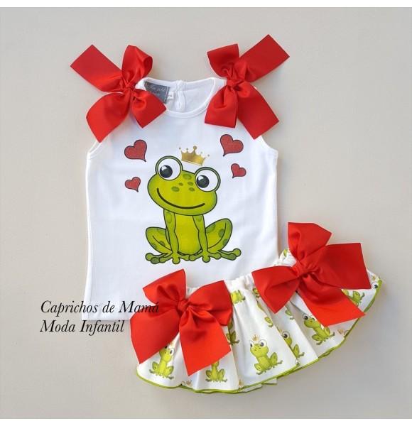 Conjunto niña camiseta y braguita ranas de Mon Petit