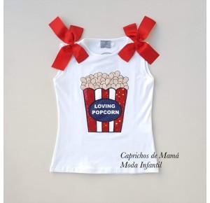 Camiseta niña caja palomitas lentejuelas de Mon Petit